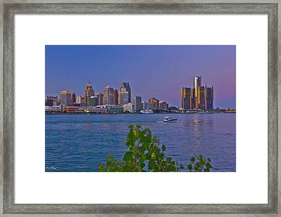 Detroit Skyline At Twilite With Boat Framed Print