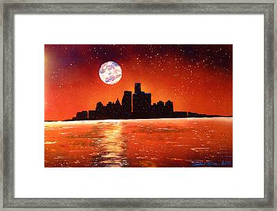Framed Print featuring the painting Detroit Skyline by Michael Rucker