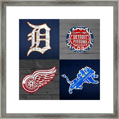 Detroit Sports Fan Recycled Vintage Michigan License Plate Art Tigers Pistons Red Wings Lions Framed Print by Design Turnpike