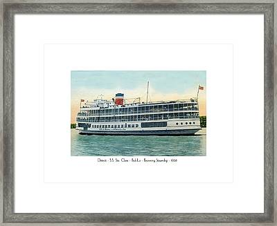 Detroit - Ss Sainte Claire - Boblo - Browning Steamship - 1938 Framed Print