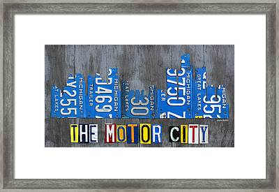 Detroit The Motor City Skyline License Plate Art On Gray Wood Boards  Framed Print by Design Turnpike