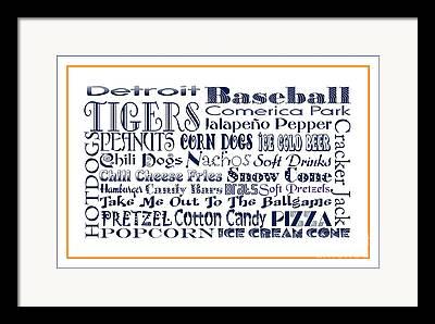 Detroit Tigers Baseball Art Digital Art Framed Prints