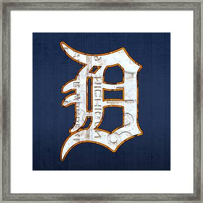 Detroit Tigers Baseball Old English D Logo License Plate Art Framed Print