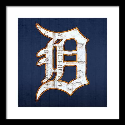 Detroit Tigers Baseball Art Framed Prints
