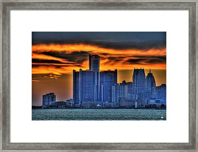 Detroits Sky Framed Print by Nicholas  Grunas