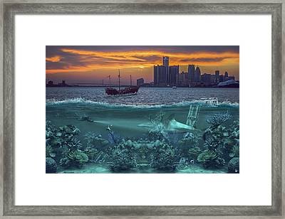 Detroit's Under Water Framed Print