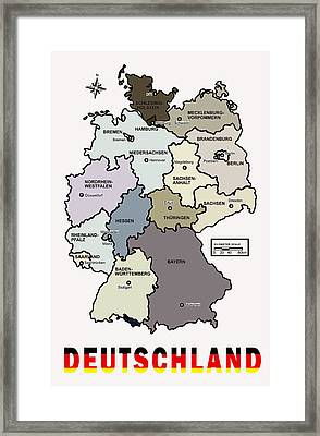 Deutschland Map Framed Print