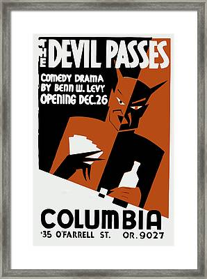 Framed Print featuring the mixed media Devil Passes by American Classic Art