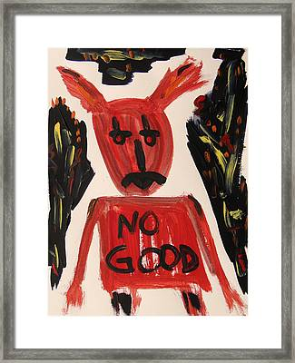 devil with NO GOOD tee shirt Framed Print by Mary Carol Williams