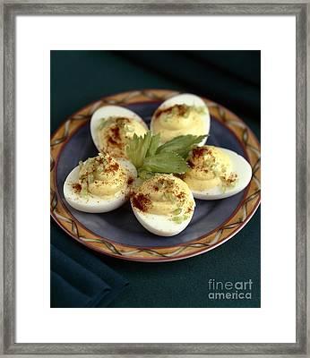 Deviled Eggs With Celery Framed Print by Iris Richardson