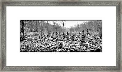 Devil's Den Black And White Rock Towers Framed Print by Tanya Harrison