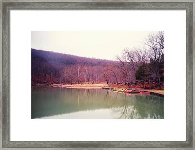 Devil's Den Lake And Canoes Framed Print by Tanya Harrison