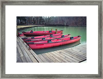 Devil's Den Red Canoes Framed Print