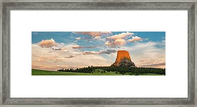 Devils Tower Against Cloudy Sky Framed Print