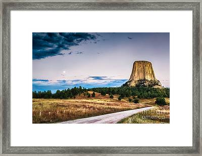 Framed Print featuring the photograph Devils Tower At Sunset And Moonrise by Sophie Doell