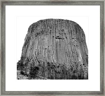 Devils Tower National Monument 3 Bw Framed Print by Elizabeth Sullivan