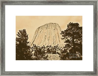 Devils Tower National Monument Between Trees Wyoming Usa Rustic Framed Print by Shawn O'Brien