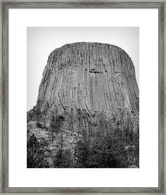Devils Tower National Monument Bw Framed Print by Elizabeth Sullivan