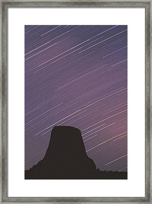 Devils Tower Star Trails Framed Print