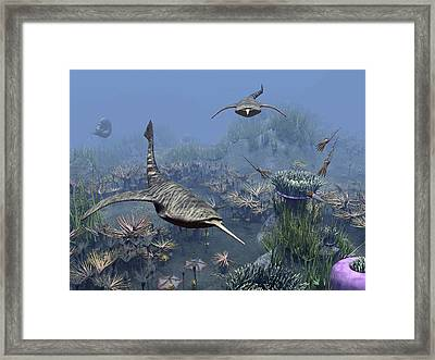 Devonian Sea, Artwork Framed Print by Science Photo Library