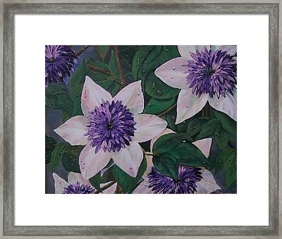 Framed Print featuring the painting Clematis After The Rain by Sharon Duguay