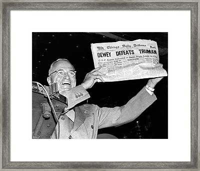 Dewey Defeats Truman Newspaper Framed Print by Underwood Archives