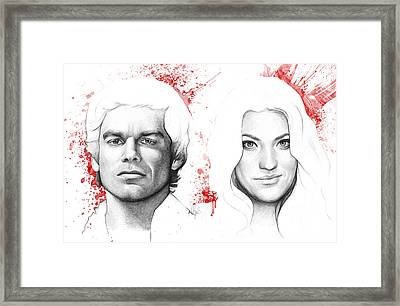Dexter And Debra Morgan Framed Print