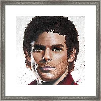 Framed Print featuring the painting Dexter by Oddball Art Co by Lizzy Love