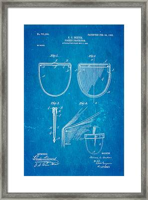 Dexter Pocket Protector Patent Art 1903 Blueprint Framed Print by Ian Monk