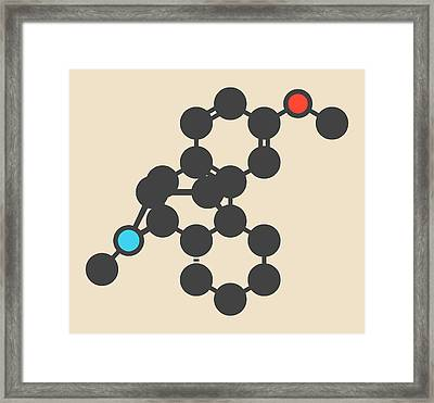 Dextromethorphan Cough Drug Molecule Framed Print by Molekuul
