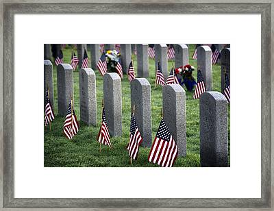 Dfw National Cemetery Framed Print by Joan Carroll