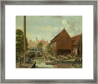 Dhollandsche Tuin Shipyard On Bickers Island In Amsterdam Framed Print by Litz Collection