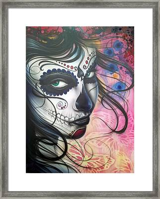 Dia De Los Muertos Chica Framed Print by Mike Royal
