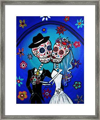 Dia De Los Muertos Kiss The Bride Framed Print by Pristine Cartera Turkus