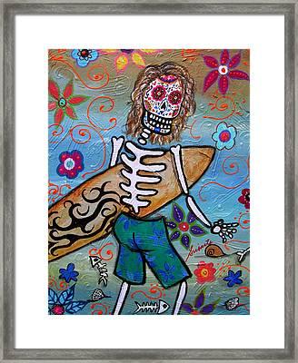 Dia De Los Muertos Surfer Framed Print