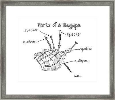 Diagram Entitled Parts Of A Bagpipe Framed Print
