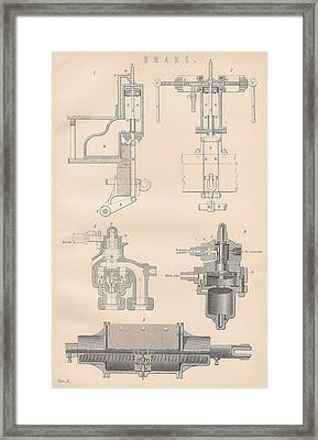 Diagram Of A Brake Framed Print by Anon