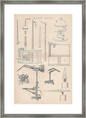 Diagrams And Parts Of A Blow Pipe Framed Print by Anon