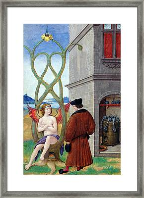 Dialogue Between The Alchemist And Nature, 1516 Vellum Framed Print by Jean Perreal