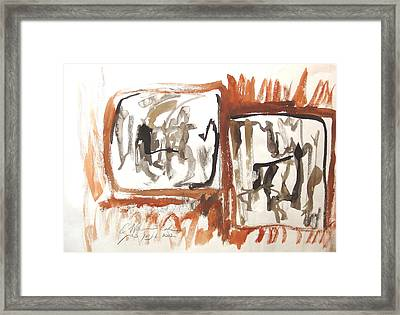 Framed Print featuring the painting Dialogue Of Squares by Esther Newman-Cohen
