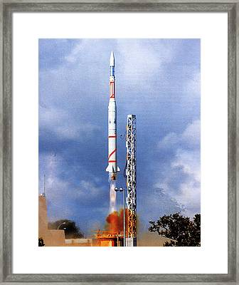 Diamant B Rocket Launch Framed Print by European Space Agency/cnes
