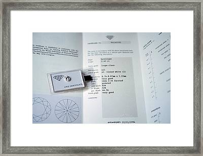 Diamond Grading Certificate Framed Print by Patrick Landmann