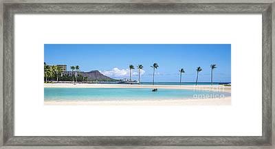 Diamond Head And The Hilton Lagoon 3 To 1 Aspect Ratio Framed Print
