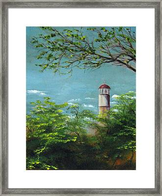 Diamond Head Lighthouse Framed Print by Sherry Robinson