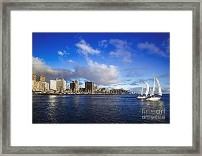 Framed Print featuring the photograph Diamond Head Sail Boat by Aloha Art