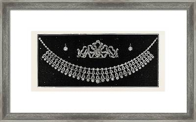 Diamond Tiara, Necklace, And Ear Rings Presented Framed Print by English School