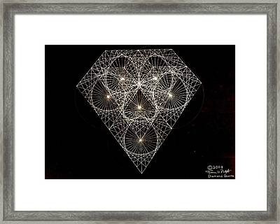 Framed Print featuring the drawing Diamond White And Black by Jason Padgett