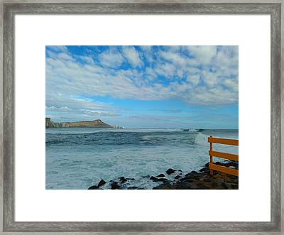 Diamondhead And A Yellow Fence Framed Print