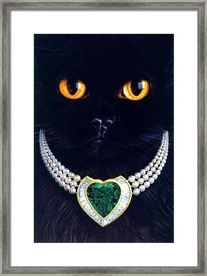 Diamonds Are A Cats Best Friend Framed Print