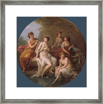 Diana And Her Nymphs Bathing Framed Print by Angelica Kauffmann